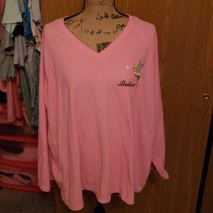 3xl pink fleece long sleeved tinkerbell top.